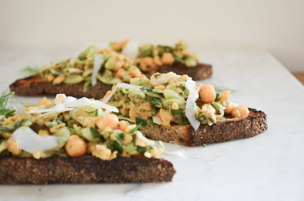 chickpea mixture on top of toast