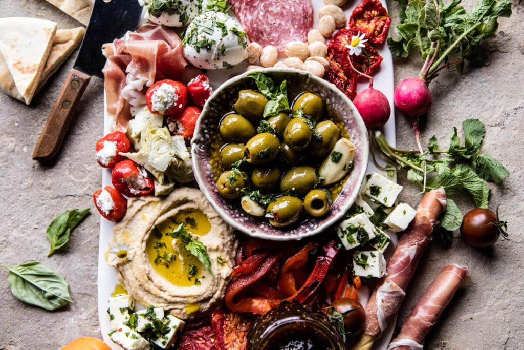 greek inspired antipasto platter