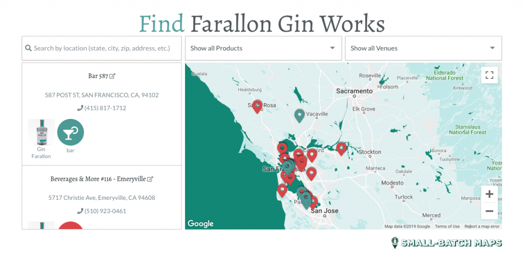 A screen shot of the mapping product Small-Batch Maps